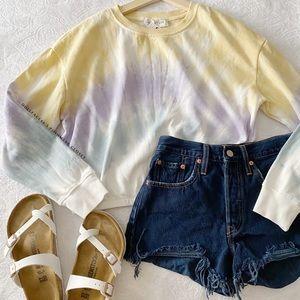 NWT Cute Pastel Tie Dye Cropped Sweatshirt